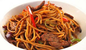 Fried Noodle with Beef Chive and Black Pepper Sauce