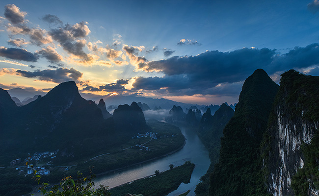 Mountain Xianggong Sunset Scenery